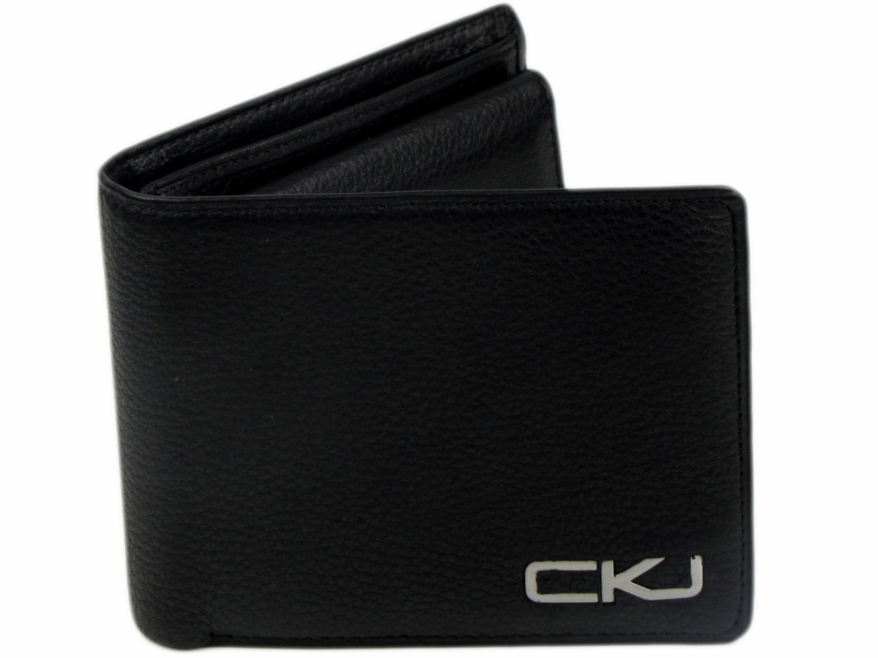 Mens Calvin Klein Jeans Leather Bi- Fold Wallet Black Gift Boxed Enlarged Preview